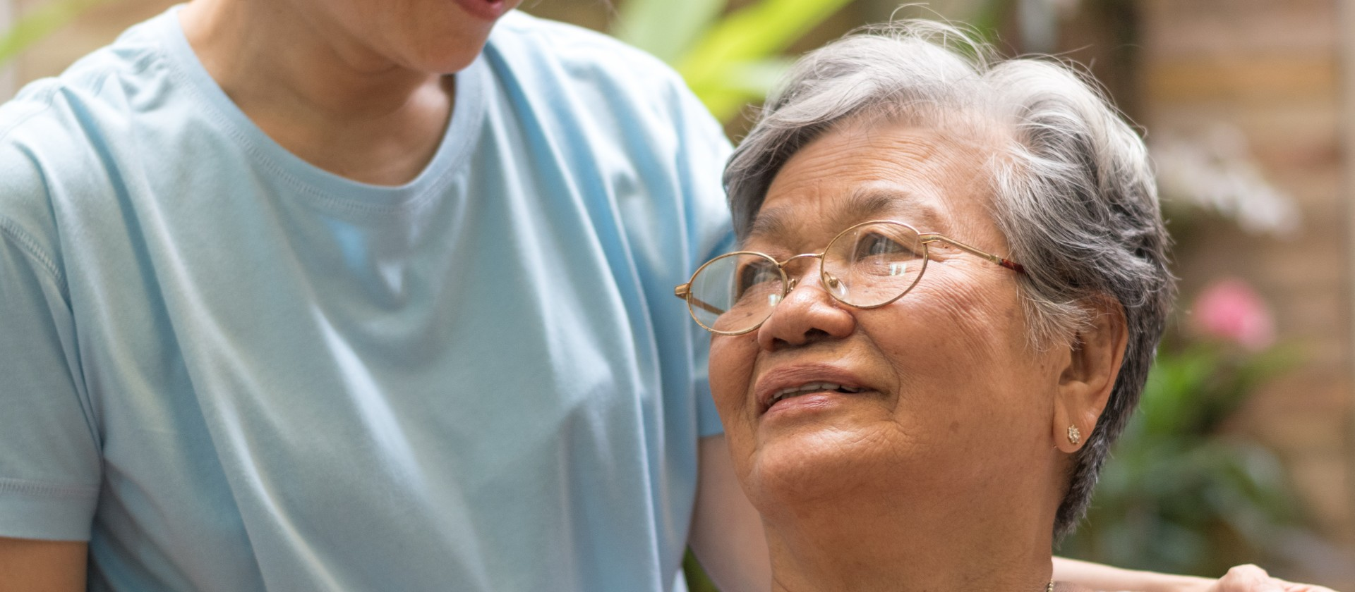 Elderly woman patient with home care nurse Gracia Hospice